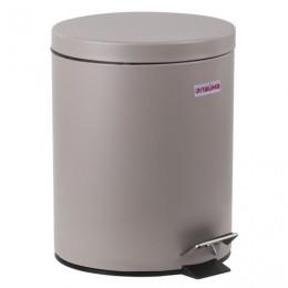 Ведро-контейнер для мусора (урна) с педалью ЛАЙМА Classic, 12 л, серое, матовое, металл, со съемным внутренним ведром, 604944