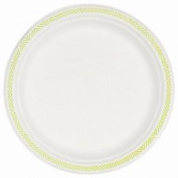 Одноразовые тарелки диаметр 240 мм, КОМПЛЕКТ 50 шт., ECO бумага, CHINET GoodToGo, х/г, HUHTAMAKI, 00922