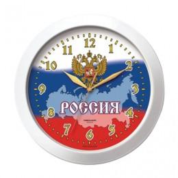 Часы настенные TROYKA 11110191, круг, белые с рисунком Россия, белая рамка, 29х29х3,5 см