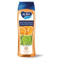 Гель для душа 260 мл, AURA, витаминный, очищает и увлажняет кожу, Экстракт апельсина и лайма, 6424
