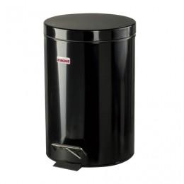 Ведро-контейнер для мусора (урна) с педалью ЛАЙМА Classic, 12 л, черное, глянцевое, металл, со съемным внутренним ведром, 602850