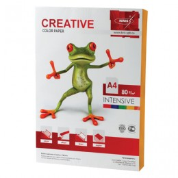 Бумага CREATIVE color (Креатив) А4, 80 г/м2, 100 л., интенсив оранжевая, БИpr-100ор