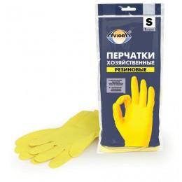 Перчатки хозяйственные латексные AVIORA, МНОГОРАЗОВЫЕ, х/б напыление, размер S (маленький) 402-566