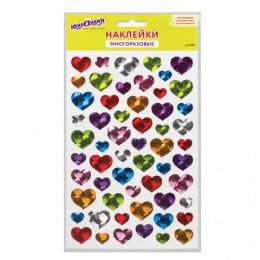 Наклейки виниловые Сердца, голографические, 14х21 см, ЮНЛАНДИЯ, 661833