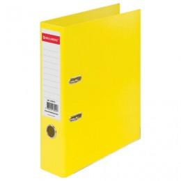 Папка-регистратор BRAUBERG EXTRA, 75 мм, желтая, двустороннее покрытие пластик, металлический уголок, 228574