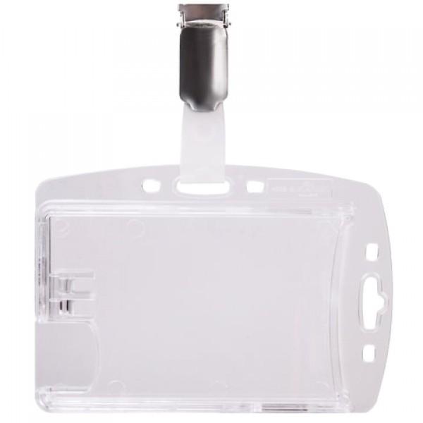 Держатель для пропусков, КОМПЛЕКТ 25 шт., двойной, жесткий пластик, клип, прозрачный, DURABLE (Германия), 8013-19