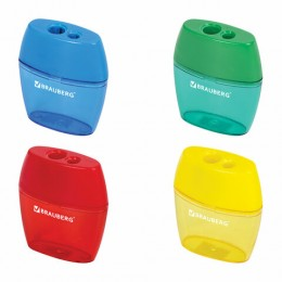 Точилка BRAUBERG Diamond Dual с контейнером, пластиковая, овальная, 2 отверстия, цвет ассорти, 226941