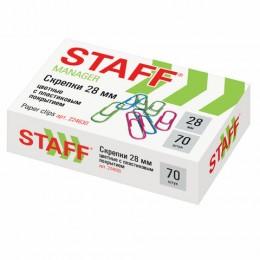 Скрепки STAFF, 28 мм, цветные, 70 шт., в картонной коробке, Россия, 224630