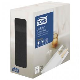Конверты бумажные нетканые для столовых приборов TORK LinStyle Premium, 39х39, 60шт, черные, 477238