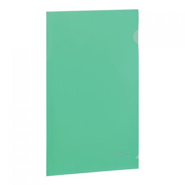Папка-уголок жесткая BRAUBERG, зеленая, 0,15 мм, 221639