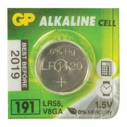 Батарейка GP Alkaline 191 (G8, LR55), алкалиновая, 1 шт., в блистере (отрывной блок), 4891199015526