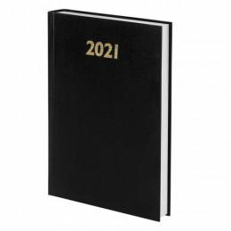 Ежедневник датированный 2021 (145х215мм), А5, STAFF, бумвинил, черный, 111814