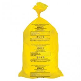 Мешки для мусора медицинские, в пачке 50 шт., класс Б (желтые), 80 л, 70х80 см, 15 мкм, АКВИКОМП