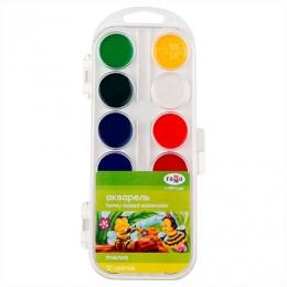 Краски акварельные ГАММА Пчелка, 12 цветов, медовые, без кисти, пластиковая коробка, европодвес