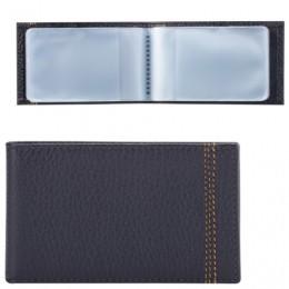 Визитница карманная FABULA Brooklyn на 40 визитных карт, натуральная кожа, контрастная отстрочка, синяя, V.82.BR