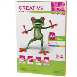 Бумага CREATIVE color (Креатив) А4, 80 г/м2, 50 л., (5 цв.х10 л.) цветная неон, БНpr-50r