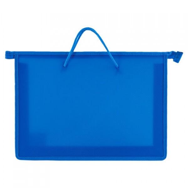 Папка на молнии с ручками ПИФАГОР, А4, пластик, молния сверху, однотонная синяя, 228235