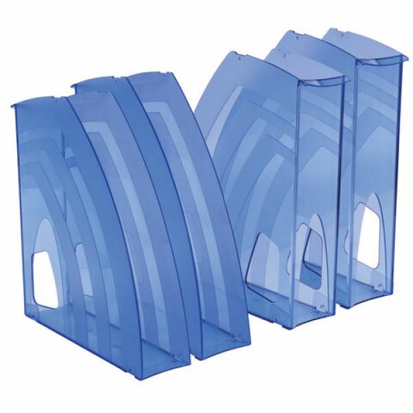 Лотки вертикальные для бумаг, КОМПЛЕКТ 4 шт., 240х70х270 мм, тонированный голубой, BRAUBERG