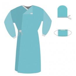 Комплект одноразовой одежды для хирурга КХ-04 ГЕКСА стерильный, 3 предмета