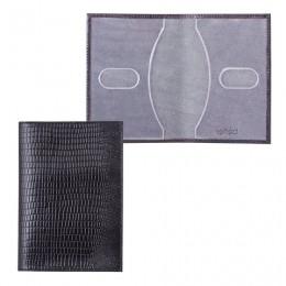 Обложка для паспорта BEFLER Ящерица, натуральная кожа, тиснение, черная, О.1-3