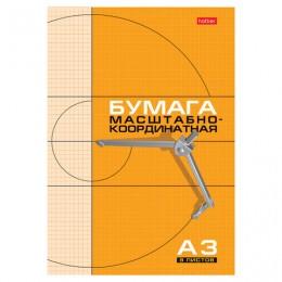 Бумага масштабно-координатная, А3, 295х420 мм, оранжевая, на скобе, 8 листов, HATBER, 8Бм3_03410