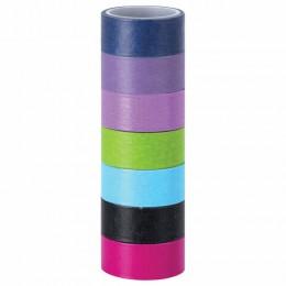 Клейкие WASHI-ленты для декора ИНТЕНСИВ, 7 холодных цветов, 15 мм х 3 м, рисовая бумага, ОСТРОВ СОКРОВИЩ, 661699
