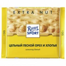 Шоколад RITTER SPORT Extra Nut, белый, с цельным лесным орехом и хлопьями, 100 г, Германия, 7016