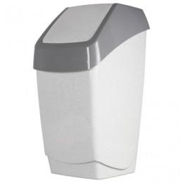 Ведро-контейнер 25 л, с крышкой (качающейся), для мусора, Хапс, 55х30х28 см, серое, IDEA, М 2472