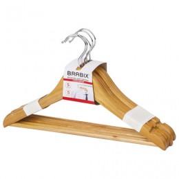 Вешалки-плечики, размер 36-40, МАЛЫЙ РАЗМЕР, КОМПЛЕКТ 5 шт., деревянные, перекладина, цвет сосна, BRABIX Стандарт, 601160