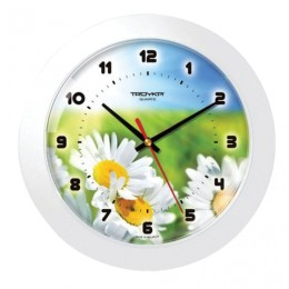 Часы настенные TROYKA 51510532, круг, с рисунком Ромашки, белая рамка, 30,5х30,5х5,4 см