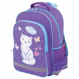 Рюкзак ПИФАГОР SCHOOL для начальной школы, WHITE CAT, 38х28х14 см, 228825