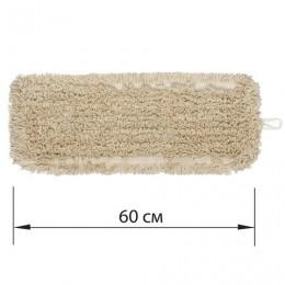Насадка МОП плоская 60 см для швабры-рамки, карманы, нашивной хлопок, ЛАЙМА Expert, 605305