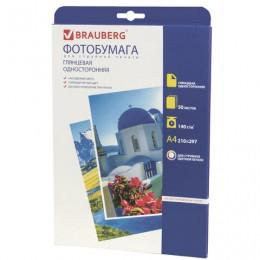 Фотобумага для струйной печати, А4, 140 г/м2, 50 листов, односторонняя глянцевая, BRAUBERG, 362872