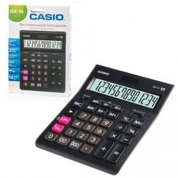 Калькулятор CASIO настольный GR-14-W, 14 разрядов, двойное питание, 209х155 мм, европодвес, черный, GR-14-W-EP