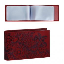 Визитница карманная BEFLER Гипюр на 40 визиток, натуральная кожа, тиснение, красная, V.43.-1