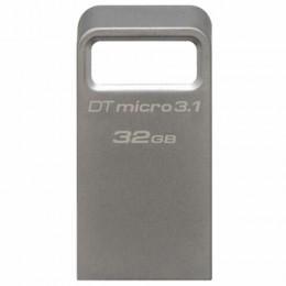 Флеш-диск 32GB KINGSTON DataTraveler Micro USB 3.1, металл. корпус, серебряный, DTMC3/32GB