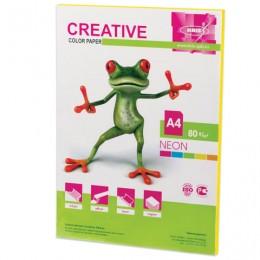 Бумага CREATIVE color (Креатив) А4, 80 г/м2, 50 л., неон, желтая, БНpr-50ж