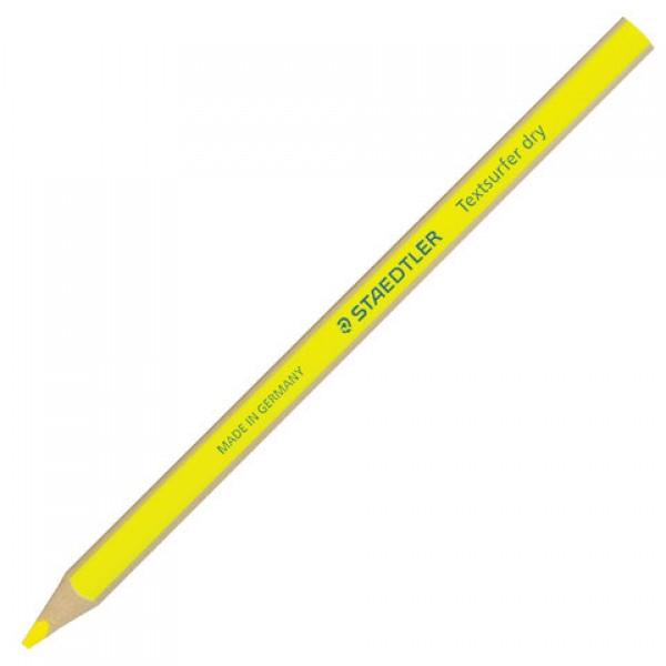 Текстовыделитель-карандаш сухой STAEDTLER (Германия), НЕОН ЖЕЛТЫЙ, трехгранный, грифель 4 мм, 128 64-1