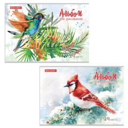 Альбом для рисования А4 24 л., скоба, обложка картон, BRAUBERG, 202х285 мм, Райские птички (2 вида), 105609
