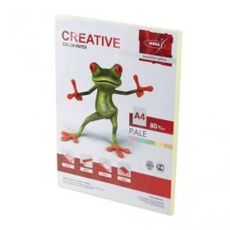 Бумага CREATIVE color (Креатив) А4, 80 г/м2, 100 л., пастель желтая, БПpr-100ж