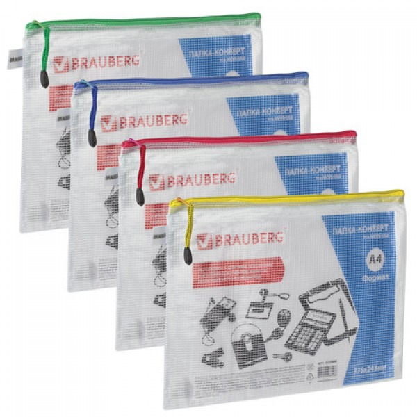 Папка-конверт на молнии А4 (335х243 мм), молния ассорти, ПВХ, сетка, прозрачная, 0,2 мм, BRAUBERG