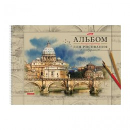 Альбом для рисования, А3, 40 л., спираль, обложка картон, подложка, HATBER