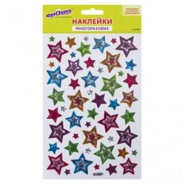 Наклейки виниловые Звезды, голографические, 14х21 см, ЮНЛАНДИЯ, 661809