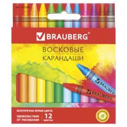 Восковые карандаши BRAUBERG АКАДЕМИЯ, НАБОР 12 цветов, 227283