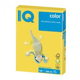 Бумага IQ color БОЛЬШОЙ ФОРМАТ (297х420 мм), А3, 120 г/м2, 250 л., интенсив, канареечно-желтая, CY39
