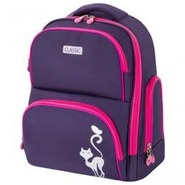 Рюкзак BRAUBERG CLASSIC, легкий каркас, премиум материал, Graceful cat, фиолетовый, 37х32х21 см, 270087