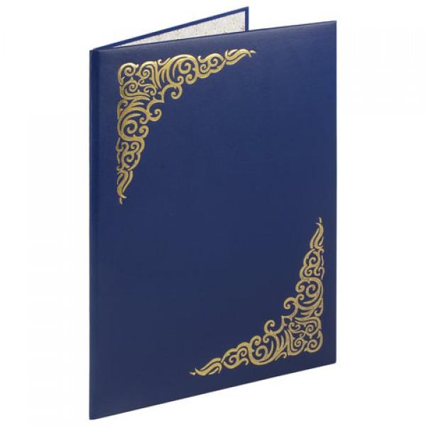 Папка адресная бумвинил с виньеткой, формат А4, синяя, индивидуальная упаковка, STAFF