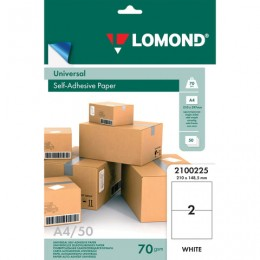 Этикетка самоклеящаяся 210х148,5 мм, 2 этикетки, белая, 70 г/м2, 50 л., LOMOND, 2100225
