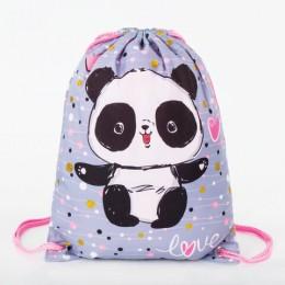 Сумка для обуви BRAUBERG PREMIUM, карман, подкладка, 43х33 см, Funny panda, 270281