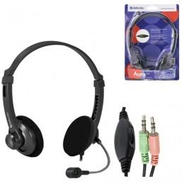 Наушники с микрофоном (гарнитура) DEFENDER Aura 104, проводная, компьютерная, 1,8 м, черная, 63104
